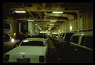 The car deck of an Alaska Marine Highway ferry.