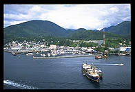 Coming in for a landing in the water in front of Ketchikan, Alaska