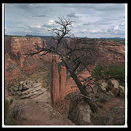A view of the Spider Rock in Canyon de Chelly.  This is where the spider woman came down and taught the Navajo how to weave.