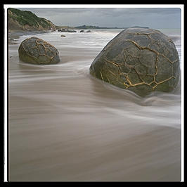 Two of the Moeraki Boulders on the east coast of the South Island of New Zealand
