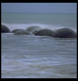 Moeraki Boulders 1993.  Off the coast of the South Island of New Zealand, between Christchurch and Dunedin.