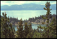 Views of Marlette Lake and Lake Tahoe from the Flume Trial.  Nevada side of Lake Tahoe.