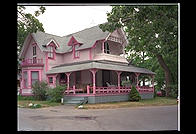 A pink Victorian in Oak Bluffs, Martha's Vineyard, Massachusetts