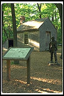 A replica of Thoreau's Walden Pond cabin, just across the road from the pond