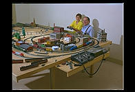 Ira and Ian with the train set