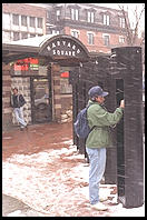 Winter phone call.  Harvard Square.