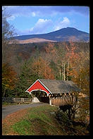 A postcard-quality covered bridge inside the Flume State Park, New Hampshire
