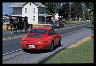 Porsche and Amish buggy.  Pennsylvania.
