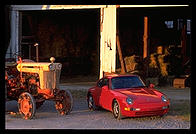 Porsche and tractor.  Amish country, Pennsylvania.