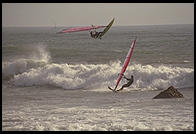 Windsurfing.  Just north of the Hearst Castle.  San Simeon, California.