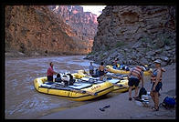 OARS boats on beach.  Grand Canyon