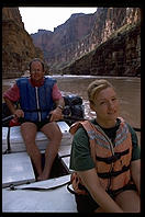 Eve and Bruce on an OARS raft in Grand Canyon