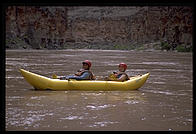 Eve Andersson kayaking with Tom Huntington. Grand Canyon