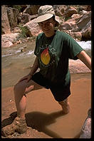 Eve's muddy boot.  Lower Havasupai Canyon.  Grand Canyon National Park.