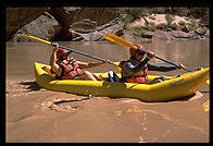 Margaret Stillman kayaking in Grand Canyon with Tom Huntington