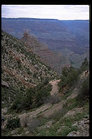 Bright Angel Trail.  Grand Canyon National Park.  Exposed on mule.