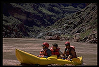 Tom Huntington guiding Fred and Zach Krupp in Kayak.  Grand Canyon National Park.