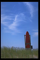 Rescue board at the Wasque Reservation, Chappaquiddick, Martha's Vineyard, Massachusetts