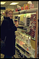 Eve making her first purchase (cosmetics) in Dublin, Ireland.