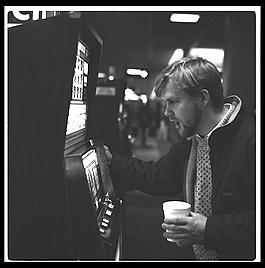 Bart Addis at the slot machines, Las Vegas, Nevada