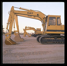 Backhoes.  Caterpillar Arizona Proving Grounds
