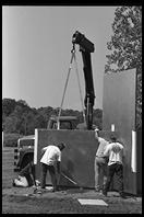 Installation of an Escaping Flatland sculpture by Edward Tufte.  Cheshire, Connecticut