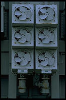 Fans on a spare transformer at the Vermont Yankee nuclear power plant.  Vernon, Vermont.