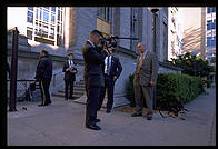 Secret Service guys checking out the press.  MIT Graduation 1998.