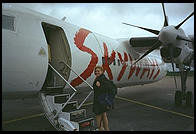 Eve boarding Skyways plane for Gotland in Stockholm
