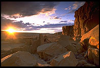 Sunset.  Chaco Canyon, New Mexico