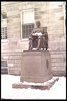 Statue of the Three Lies (John Harvard).  Harvard Yard.