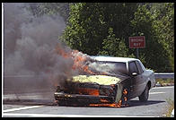 Burning car.  New Jersey 1995.